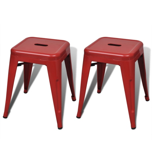 2 pcs Red Stackable Small Metal Stool