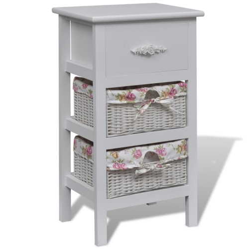 White Cabinet with 1 Drawer and 2 Baskets Wood