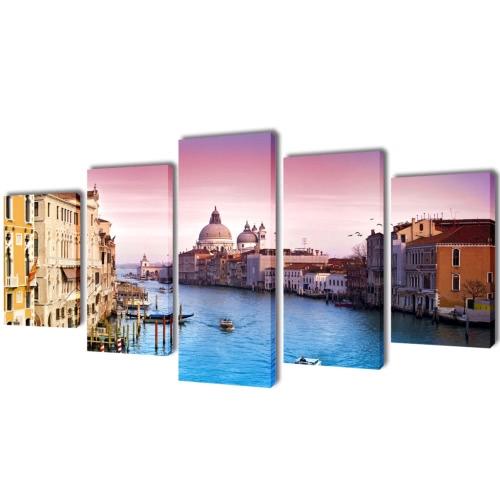 Leinwand-Wand-Druck Set Venedig 200 x 100 cm
