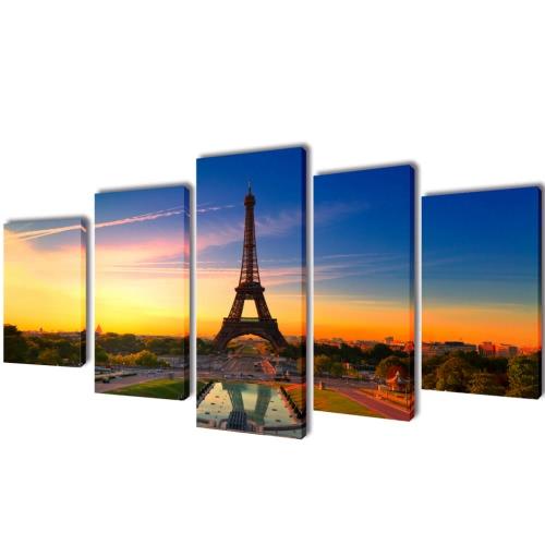 Leinwand-Wand-Druck-Set Eiffelturm 100 x 50 cm