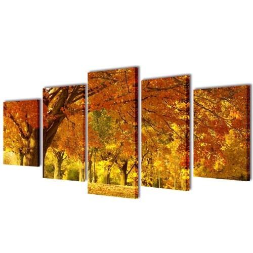 Canvas Wall Print Set Maple 200 x 100 cm