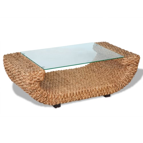 Hand Woven Coffee Table Water Hyacinth with Glass Top