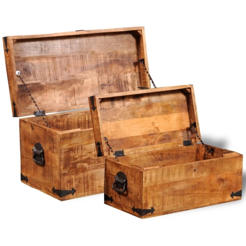 Rough Mango Wood Storage Chest Set of 2