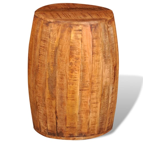 Rough Mango Wood Drum Stool