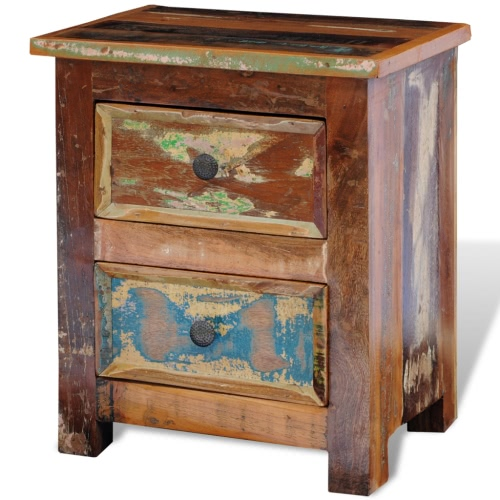 Reclaimed Solid Wood Bedside Cabinet with 2 Drawers