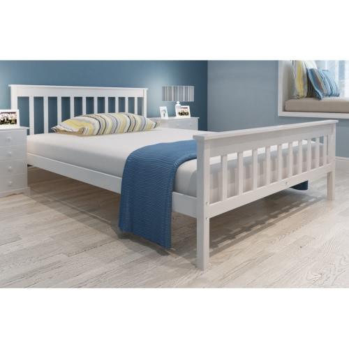 Blanco Sólido Madera de pino cama de 200 x 140 cm