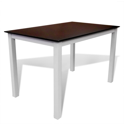 Solid Wood Brown White Dining Table 110 cm