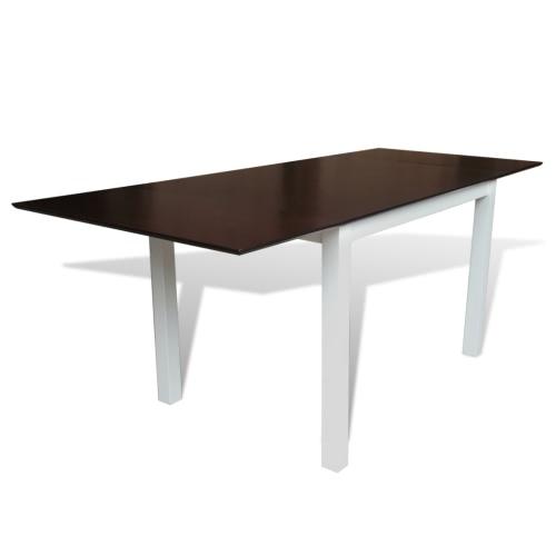 Твердые Вуд Коричневый Белый Расширение Обеденный стол 195 см
