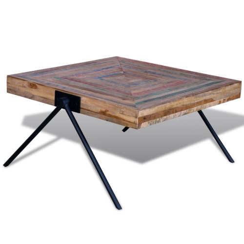 Coffee Table with V-shaped Legs Reclaimed Teak