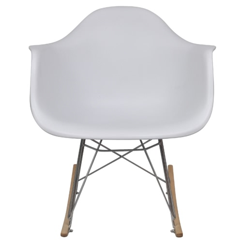 White Rocking Chair with Metal Legs