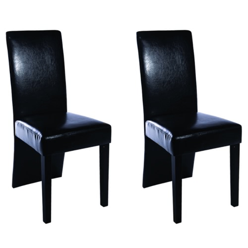 2 pcs Artificial Leather Wood Black Dining Chair