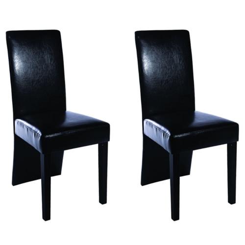 2 pièces en cuir artificiel Bois Noir Chaise