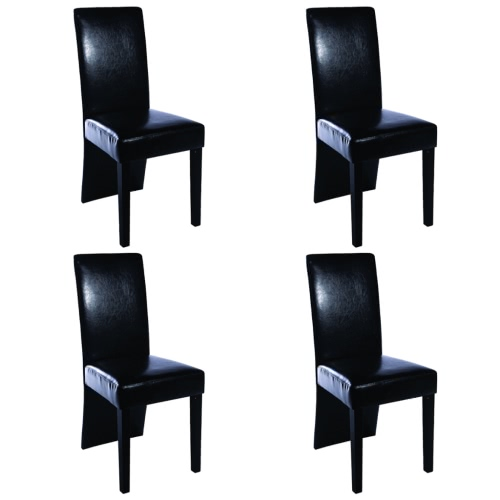 4 pcs Artificial Leather Wood Black Dining Chair