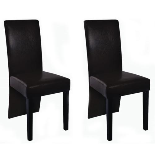 2 szt Wood Brown Dining Chair Sztuczna Skóra