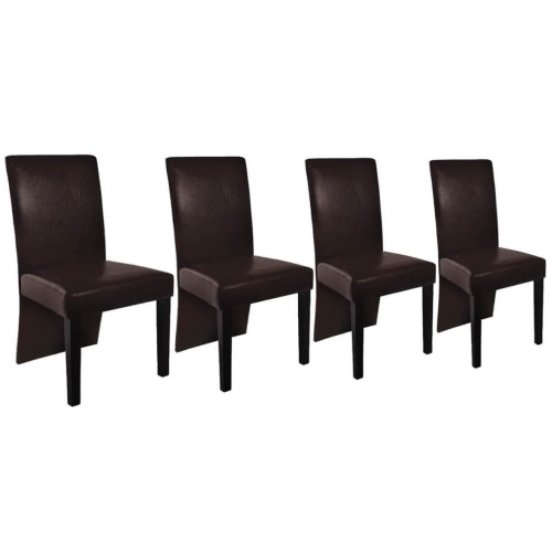 4 pcs Artificial Leather Wood Brown Dining Chair