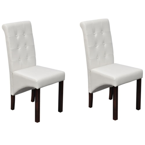 2 pcs Artificial Leather Wood White Dining Chair