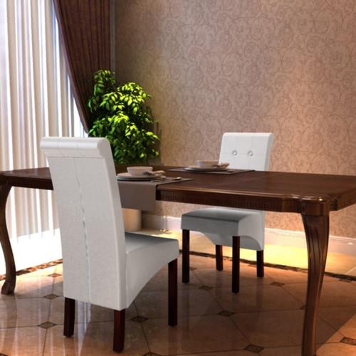 2 piezas de cuero artificial de la silla de comedor de madera blanca