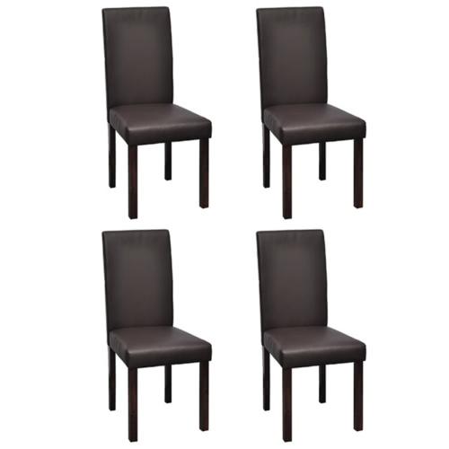 4 szt Wood Brown Dining Chair Sztuczna Skóra