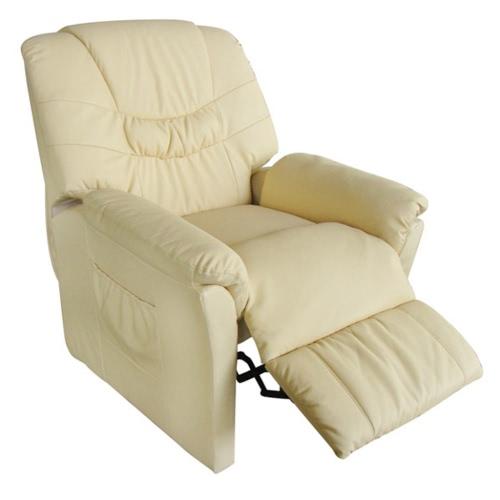 Elektryczny Sztuczne masaż skórzanym fotelu Cream