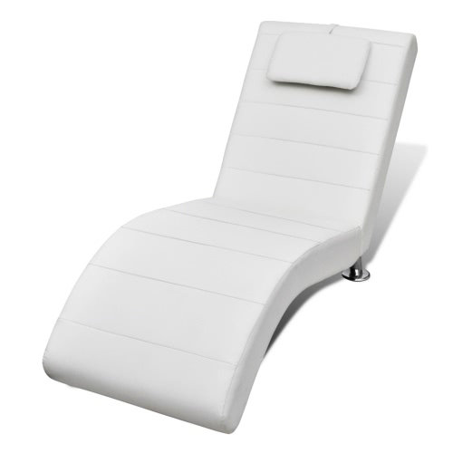 White Artificial Leather Chaise Longue with Pillow