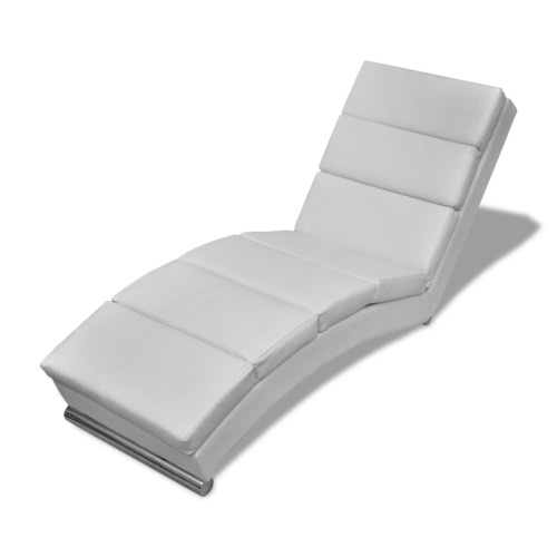 En cuir blanc artificiel Chaise Longue