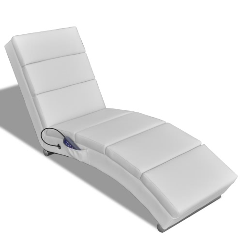 Blanc Chaise de massage électrique en cuir artificiel