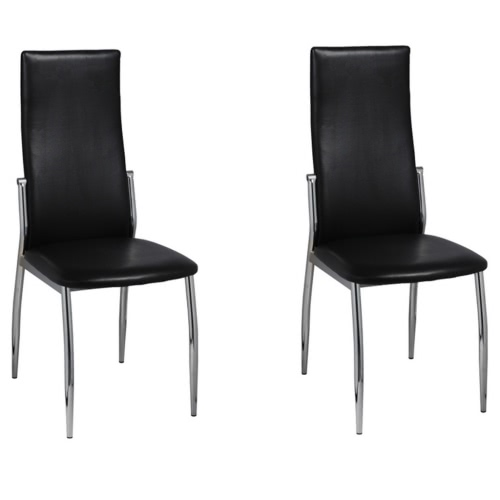 2 pcs Artificial Leather Iron Black Dining Chair
