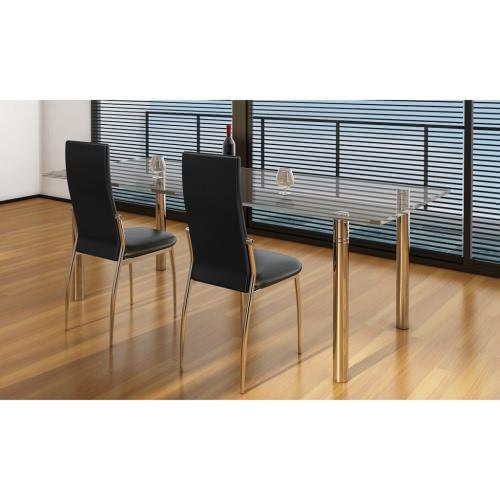 2 piezas de cuero artificial de la silla de hierro Negro comedor