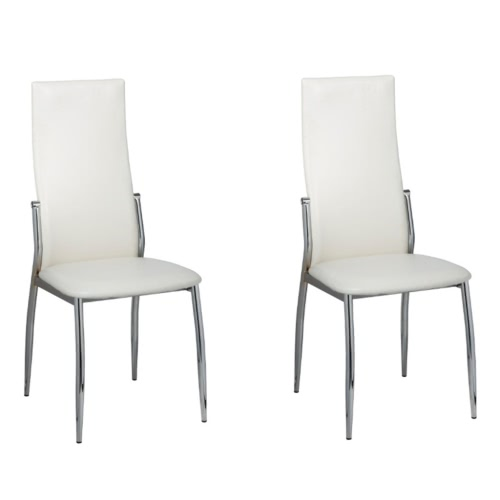 2 pcs Artificial Leather Iron White Dining Chair