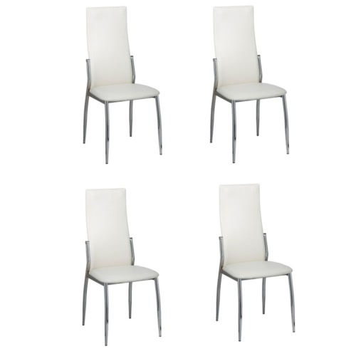 4 pcs Artificial Leather Iron White Dining Chair