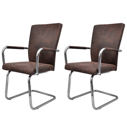 2 pcs Artificial Leather Iron Brown Dining Chair