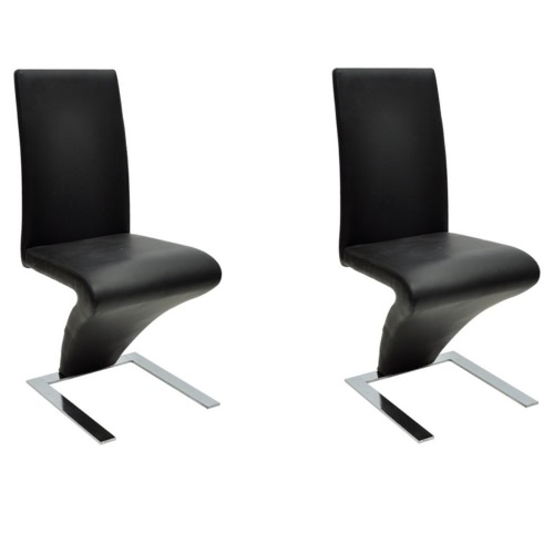 2 pcs Artificial Leather Iron Black Dining Chair Zigzag Shape