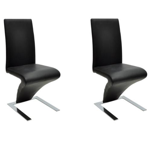 2 Stück Kunstleder Eisen Schwarz Dining Chair Zickzack-Form