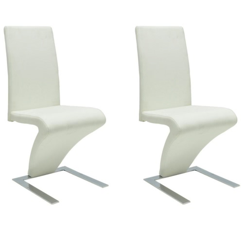 2 pcs Artificial Leather Iron White Dining Chair Zigzag Shape