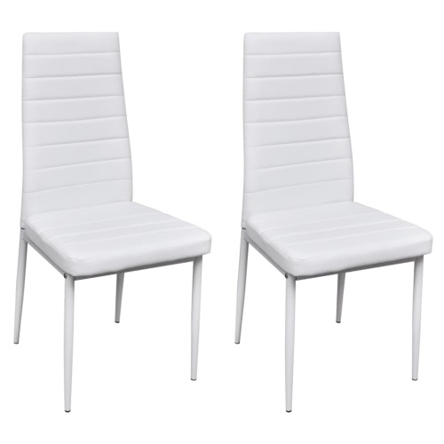 2 pcs White Slim Line Dining Chair