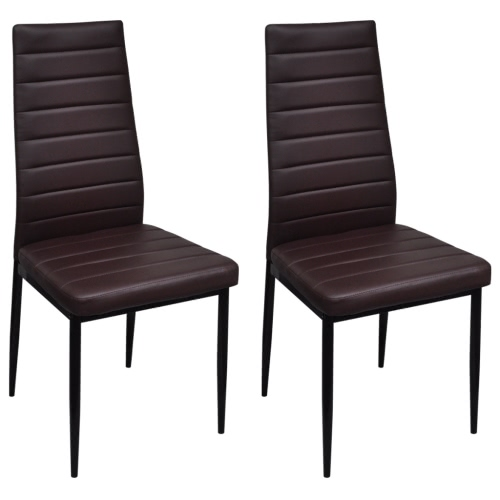 2 szt Slim Line Brown Dining Chair