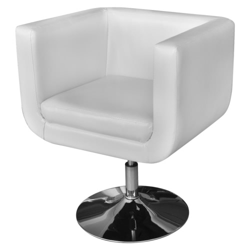 Adjustable White Artificial Leather Armchair