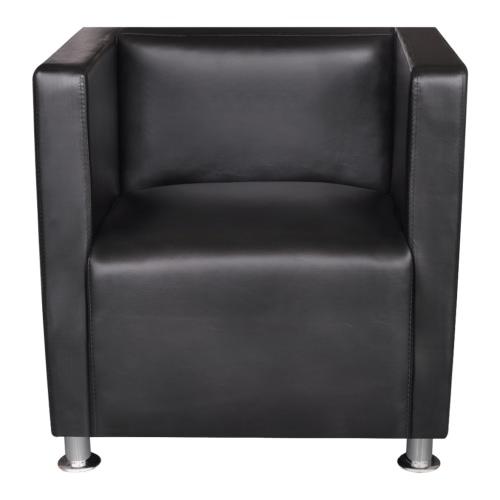 Schwarz-Kunstleder-Sessel