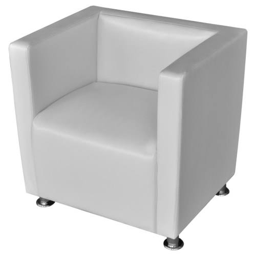 White Artificial Leather Armchair