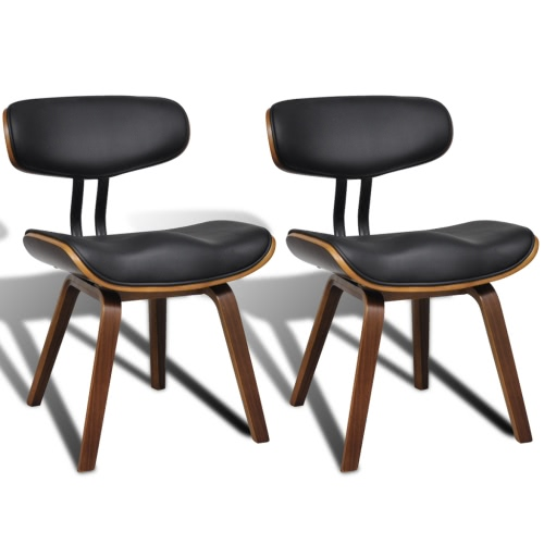 Set of 2 Bentwood & Artificial Leather Dining Chairs with Backrest