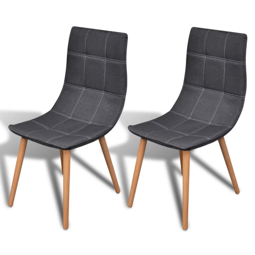 Dining Chair Set Dunkelgrau Stoff 2 Stück
