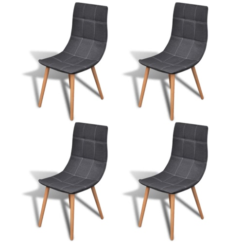 Dining Chair Set Dark Grey Fabric 4 pcs