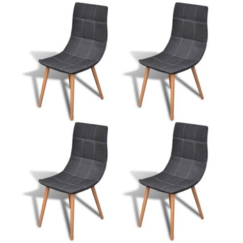 Krzesło Set Dark Grey Fabric 4 szt