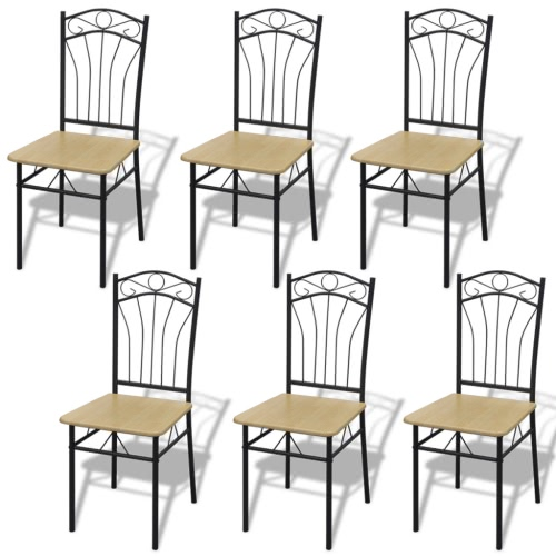 Set of 6 Light Brown Steel Frame Dining Chairs
