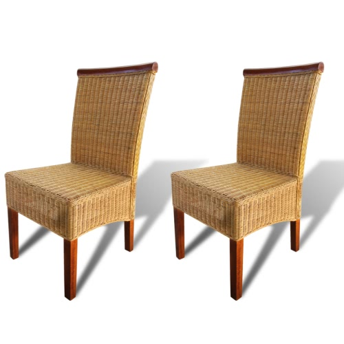 Set of 2 Handwoven Rattan Dining Chairs with Decorative Wooden Strip