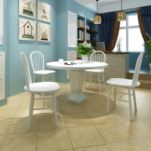 4 Holz Esszimmerstühle Runde Weiß