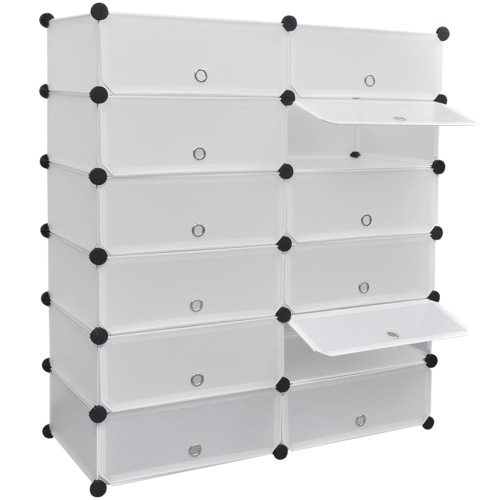 White Shoe Organiser Storage Rack with 12 Compartments 40 x 31 x 160cm