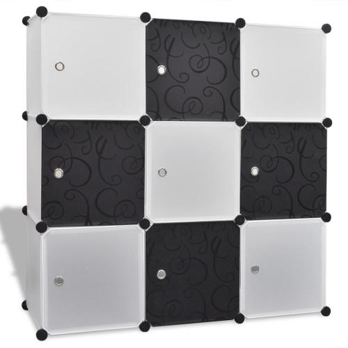 Almacenamiento negro-blanco Cubo Organizador con 9 compartimentos 110x37x110 cm