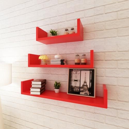 3 en forma de U Rojo MDF visualización estantes flotante pared Libro / DVD de almacenamiento