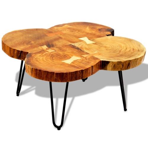 Sólido Madera Sheesham Mesa lado de la mesa 35 cm 4 troncales